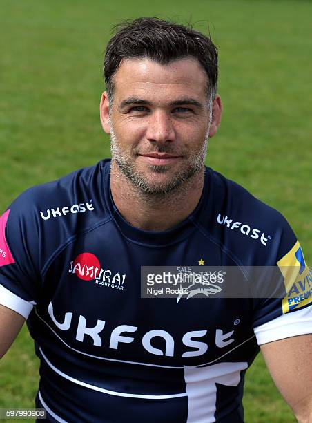 Mike Phillips poses for a portrait during the Sale Sharks squad photocall for the 20162017 Aviva Premiership Rugby season on August 30 2016 in...