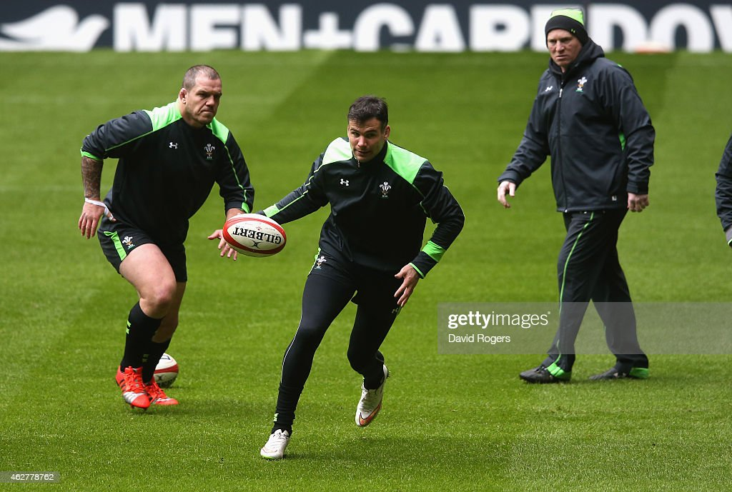 Mike Phillips runs with the ball during the Wales captain's run at the Millennium Stadium on February 5, 2015 in Cardiff, Wales.