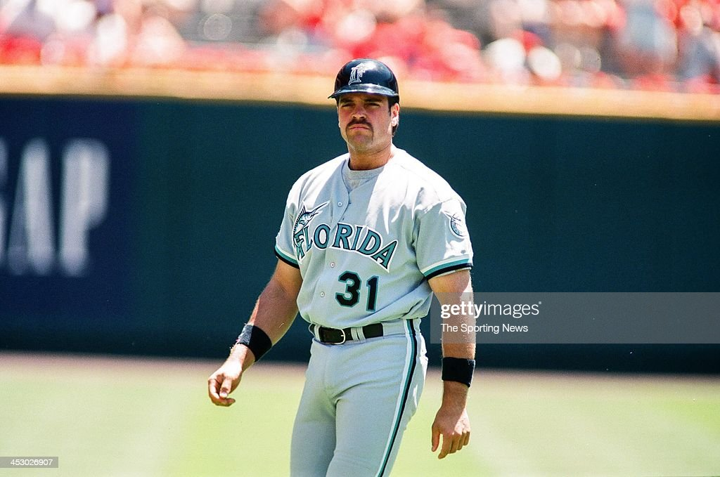 Mike Piazza of the Florida Marlins during the game against the St Louis Cardinals on May 17 1998 at Busch Stadium in St Louis Missouri