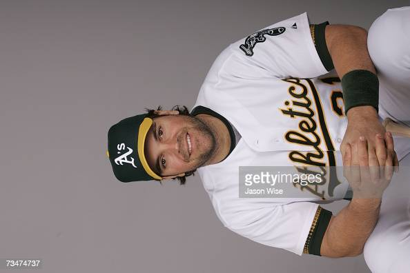 Mike Piazza of the Oakland Athletics poses during photo day at Phoenix Stadium on February 24 2007 in Phoenix Arizona