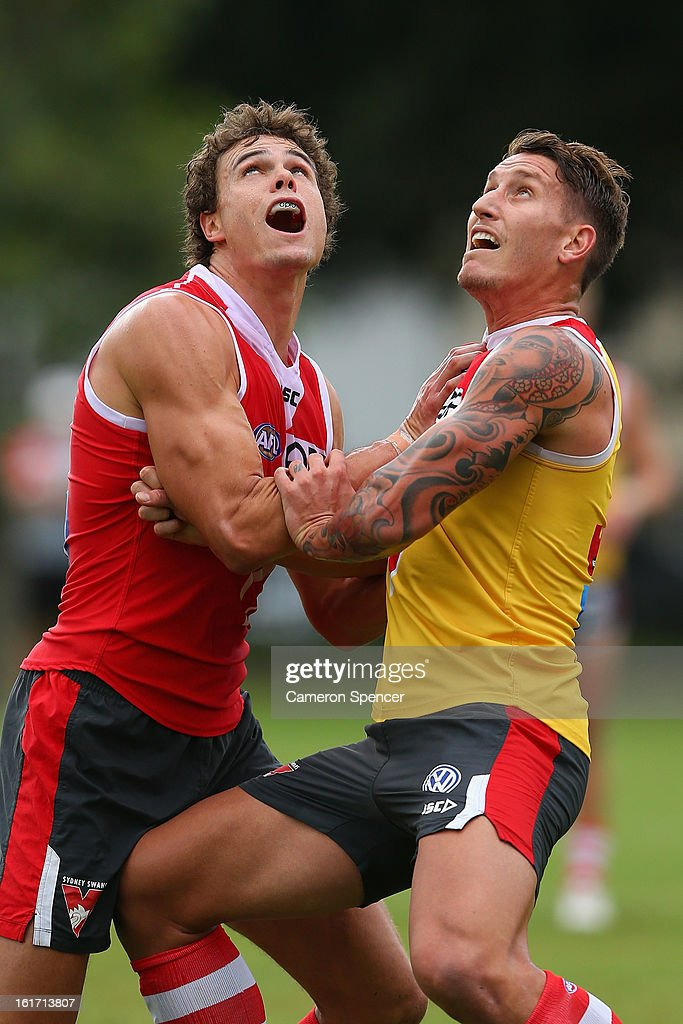 Mike Pike and Jesse White of the Swans contest a high ball during an intra-club practice match during a Sydney Swans AFL training session at Moore Park on February 15, 2013 in Sydney, Australia.