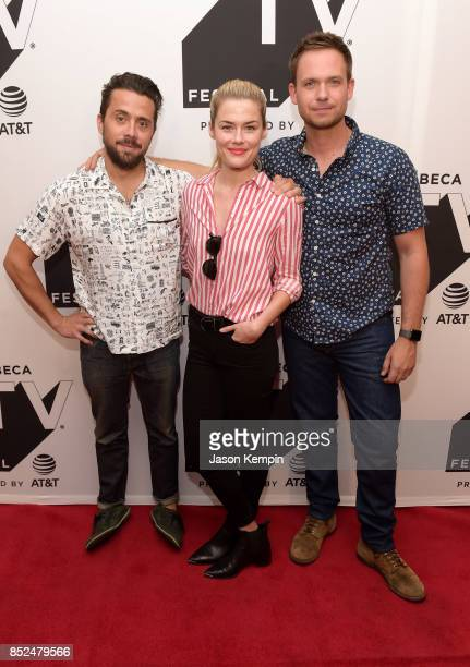 Mike Piscitelli Rachael Taylor and Patrick J Adams attend the Tribeca TV Festival screening of Pillow Talk at Cinepolis Chelsea on September 23 2017...