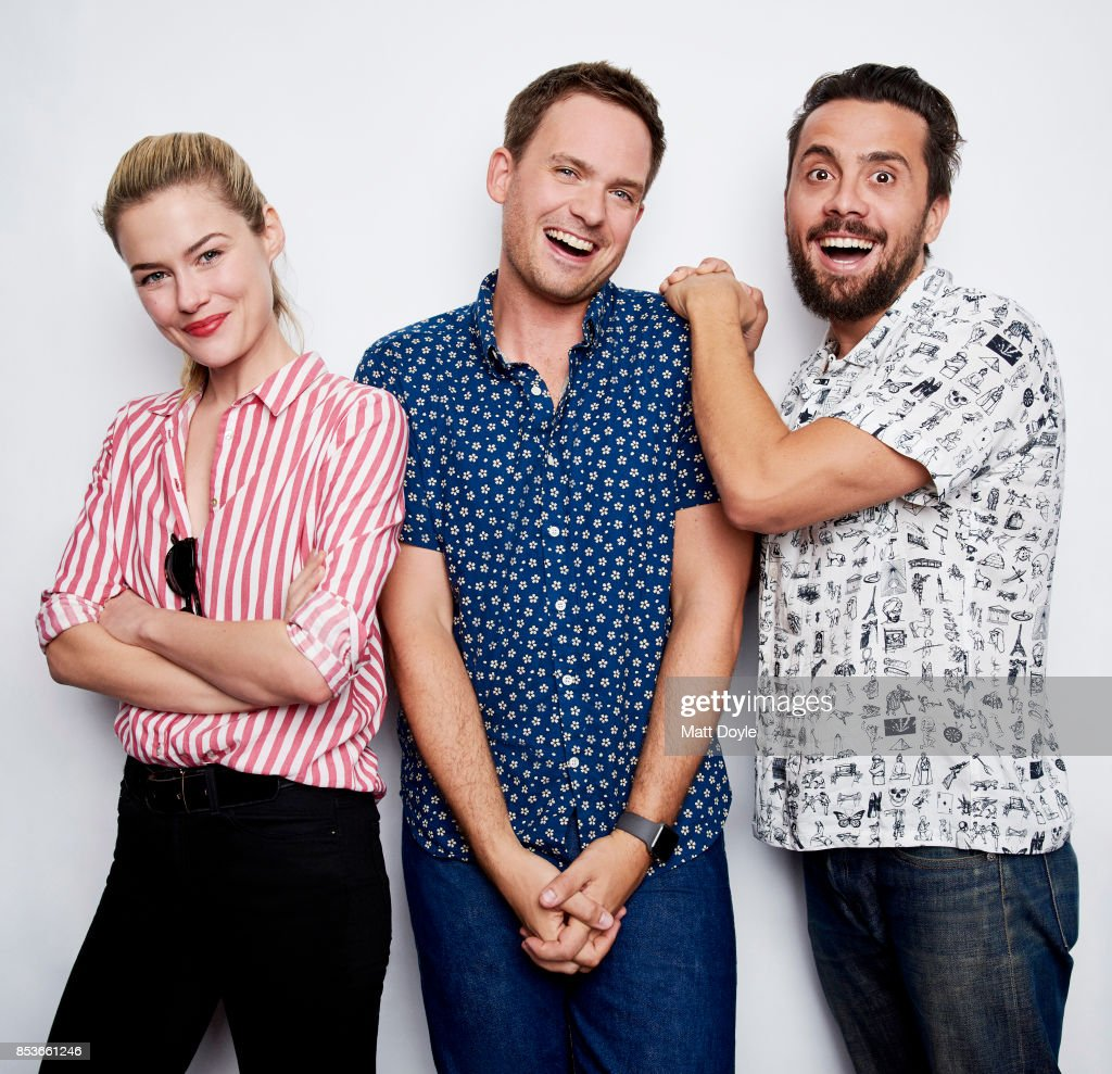 Mike Piscitelli, Rachel Taylor and Patrick J Adams pose for a portrait at the Tribeca TV festival at Cinepolis Chelsea on September 23, 2017.