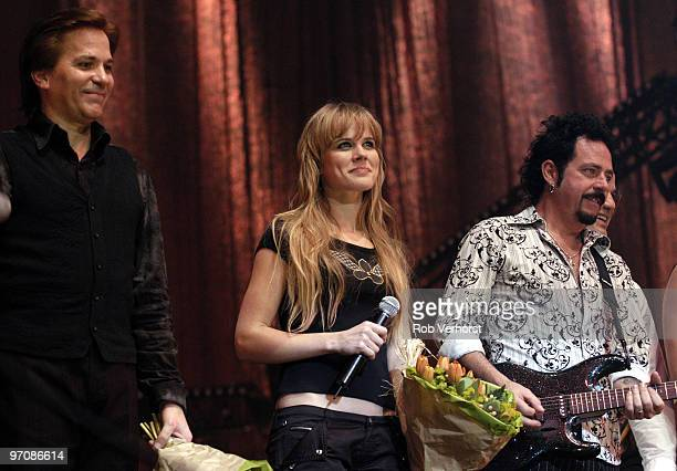Joseph Williams and Steve Lukather of Toto perform on stage with Ilse DeLange at Night of the Proms at Ahoy on November 18th 2003 in Rotterdam...