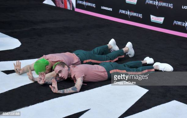 Mike Posner and Blackbear arrive at the premiere of Lionsgate's 'Power Rangers' at The Village Theatre on March 22 2017 in Westwood California