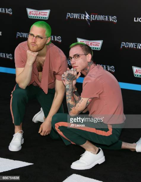 Mike Posner and Blackbear attend the premiere of Lionsgate's 'Power Rangers' on March 22 2017 in Westwood California