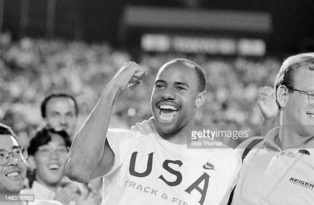 Mike Powell of the USA celebrates after setting a new World Record for the Long Jump at the IAAF World Athletics Championship in Tokyo 30th August...