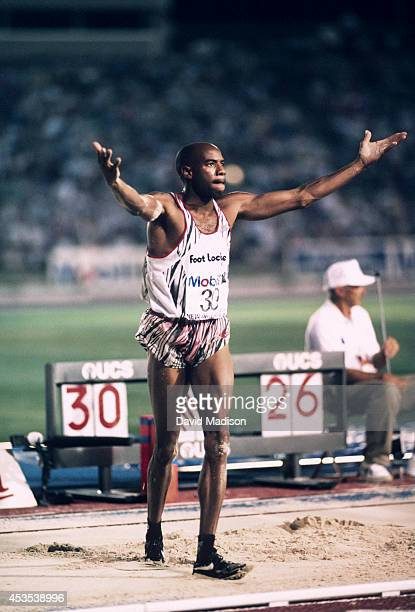 Mike Powell of the USA competes in the Men's Long Jump event of the 1992 USA Track and Field Olympic Trials held on June 24 1992 at Tad Gormley...
