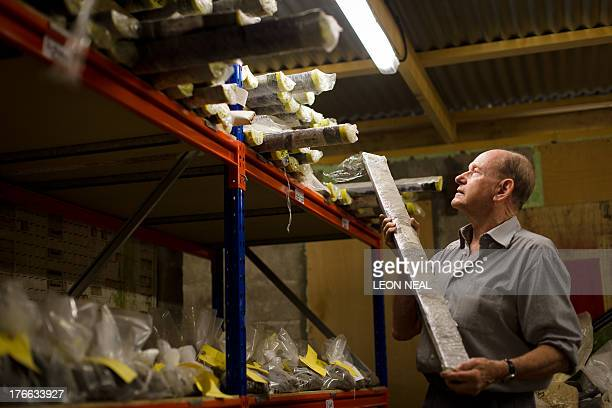 BERTHEREAU Mike Proudfoot CEO of Marine Minerals Limited holds one of his seabed test samples at the former Wheal Jane mine near Truro in Cornwall...