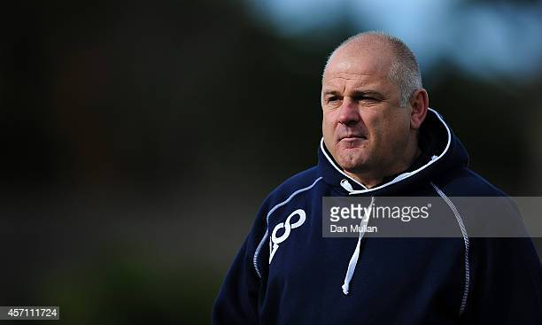 Mike Rayer Bedford Blues' Director of Rugby looks on ahead of the British Irish Cup match between Cornish Pirates and Bedford Blues at Mennaye Field...