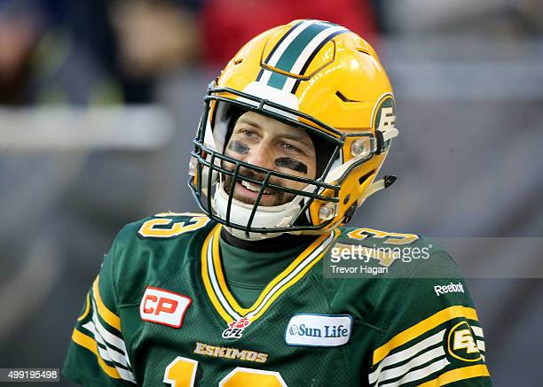Mike Reilly of the Edmonton Eskimos warms up on the field prior to Grey Cup 103 against the Ottawa Redblacks at Investors Group Field in Winnipeg...