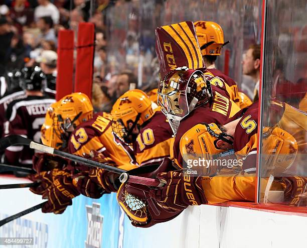 Mike Reilly of the Minnesota Golden Gophers reacts in the final minute of the game against the Union College Dutchmen during the 2014 NCAA Division I...