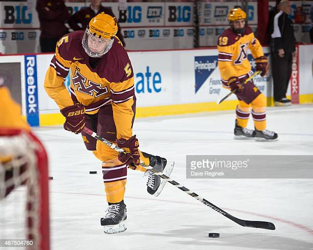 Mike Reilly of the Minnesota Golden Gophers shoots the puck in warmups prior to the finals of Big Ten Mens Ice Hockey Championship against the...