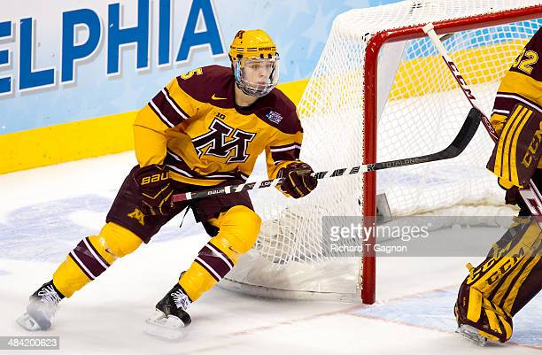 Mike Reilly of the Minnesota Golden Gophers skates against North Dakota during the NCAA Division I Men's Ice Hockey Frozen Four Championship...