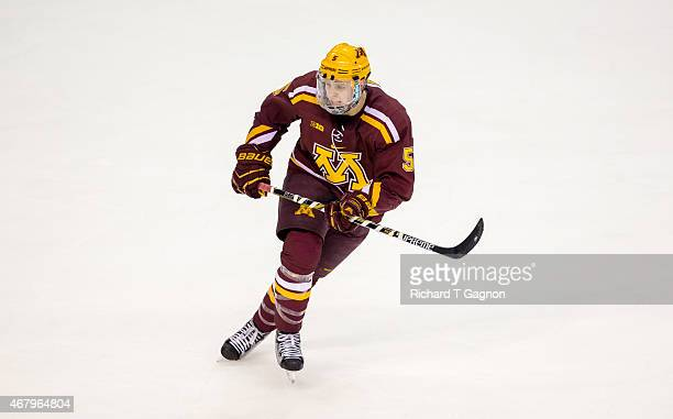 Mike Reilly of the Minnesota Golden Gophers skates against the Minnesota Duluth Bulldogs during the NCAA Division I Men's Ice Hockey Northeast...
