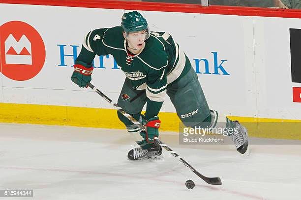 Mike Reilly of the Minnesota Wild handles the puck against the St Louis Blues during the game on March 6 2016 at Xcel Energy Center in St Paul...
