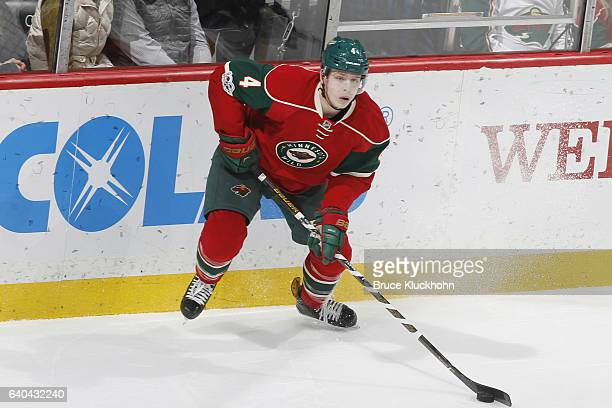 Mike Reilly of the Minnesota Wild handles the puck against the St Louis Blues during the game on January 26 2017 at the Xcel Energy Center in St Paul...