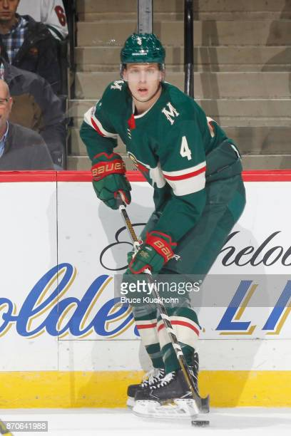 Mike Reilly of the Minnesota Wild handles the puck against the Montreal Canadiens during the game at the Xcel Energy Center on November 2 2017 in St...