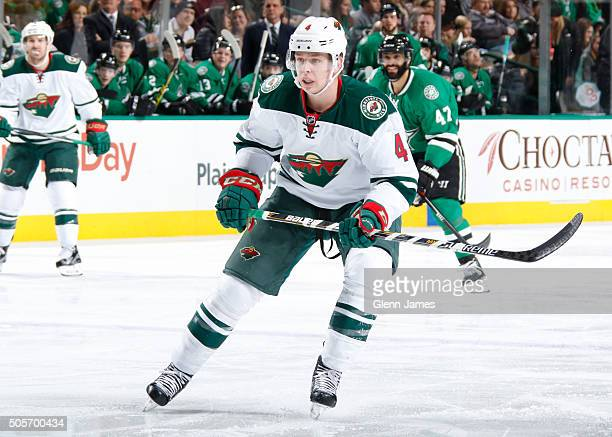 Mike Reilly of the Minnesota Wild skates against the Dallas Stars at the American Airlines Center on January 9 2016 in Dallas Texas