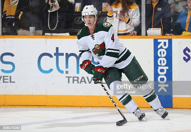 Mike Reilly of the Minnesota Wild skates against the Nashville Predators during an NHL game at Bridgestone Arena on January 16 2016 in Nashville...
