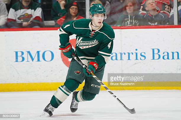 Mike Reilly of the Minnesota Wild skates against the New Jersey Devils during the game on January 10 2016 at the Xcel Energy Center in St Paul...