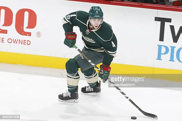 Mike Reilly of the Minnesota Wild skates with the puck against the Anaheim Ducks during the game on January 21 2017 at the Xcel Energy Center in St...