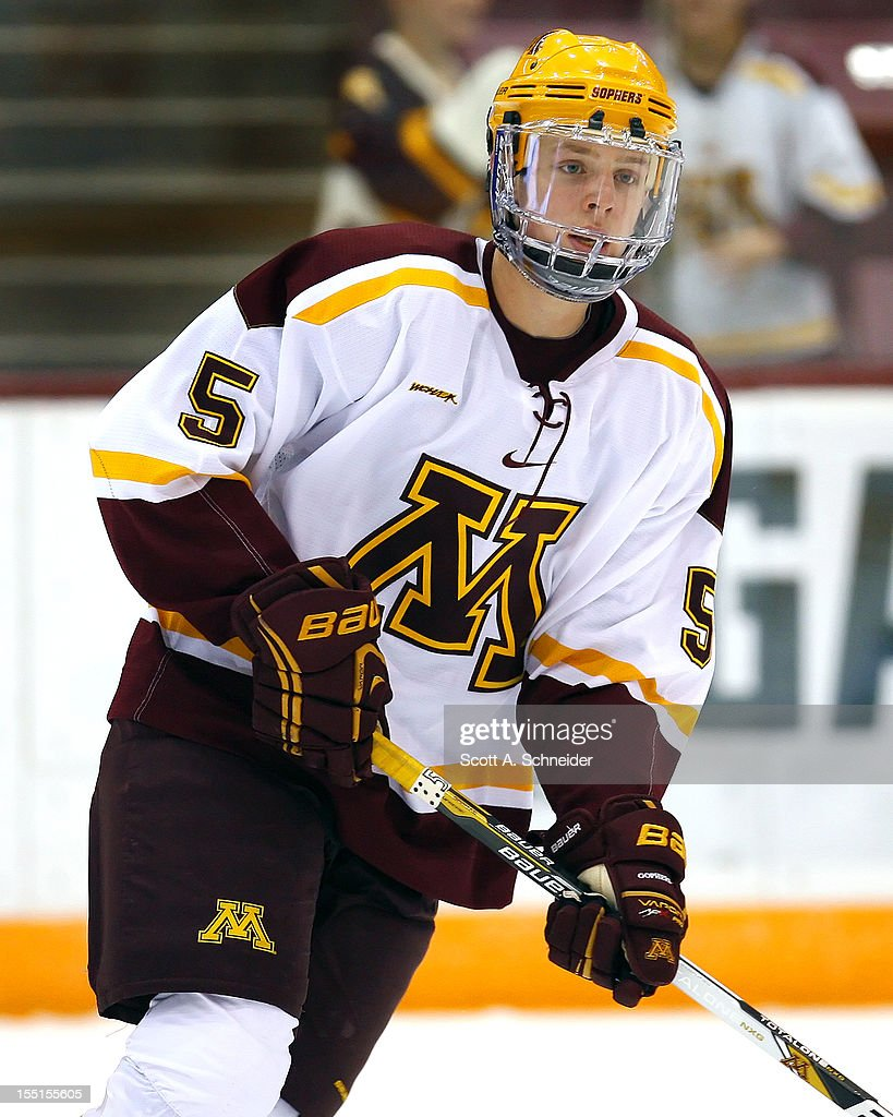 Mike Reilly #5 of the University of Minnesota warms up before a game with the United States U-18 team October 26, 2012 at Mariucci Arena in Minneapolis, Minnesota.