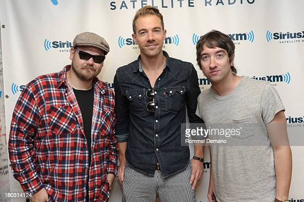 Mike Retondo Tim Lopez and Tom Higgenson of Plain White T's visit SiriusXM Studios on September 11 2013 in New York City