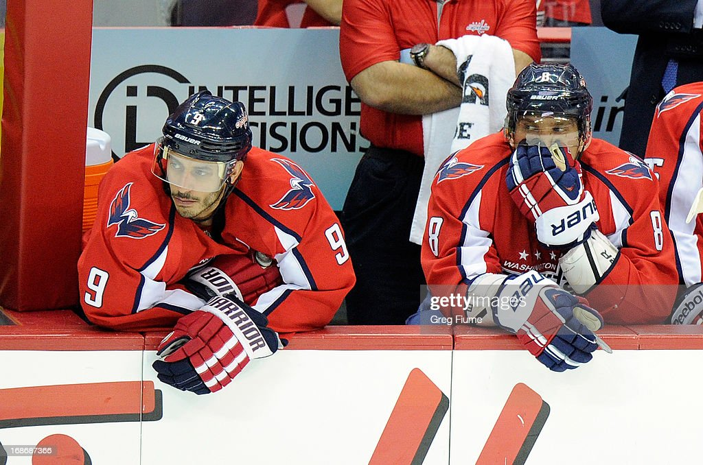 <a gi-track='captionPersonalityLinkClicked' href=/galleries/search?phrase=Mike+Ribeiro&family=editorial&specificpeople=203275 ng-click='$event.stopPropagation()'>Mike Ribeiro</a> #9 and Alex Ovechkin #8 of the Washington Capitals sit on the bench during the third period of a 5-0 loss against the New York Rangers in Game Seven of the Eastern Conference Quarterfinals during the 2013 NHL Stanley Cup Playoffs at the Verizon Center on May 13, 2013 in Washington, DC.