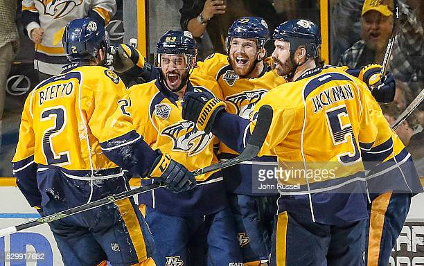 Mike Ribeiro Colin Wilson Anthony Bitetto and Barret Jackman of the Nashville Predators celebrate a goal against the San Jose Sharks in Game Six of...
