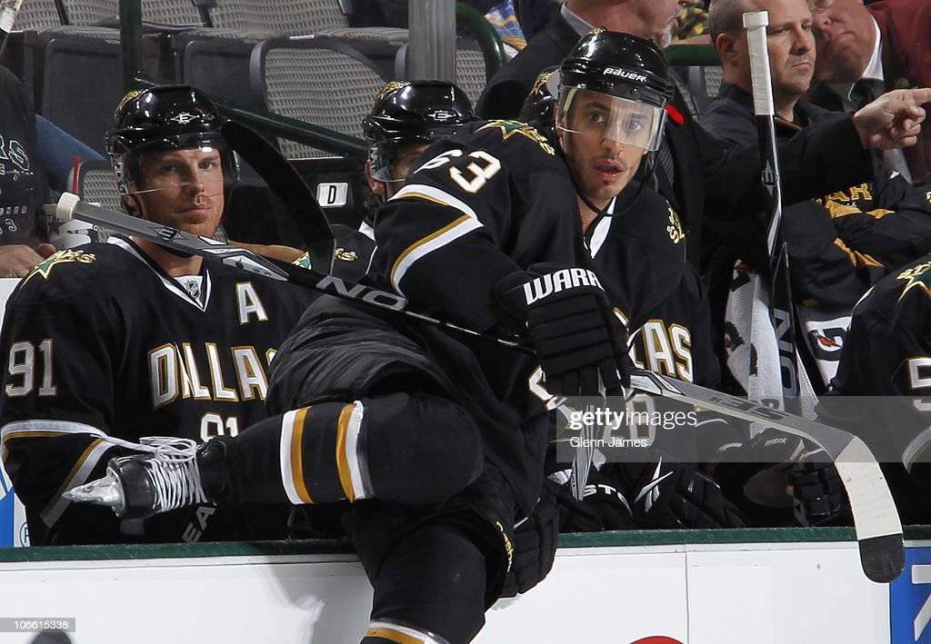 Mike Ribeiro of the Dallas Stars hops over the boards for a shift against the Phoenix Coyotes on November 5 2010 at the American Airlines Center in...