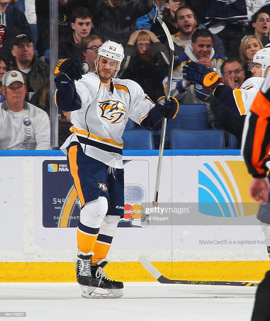 Mike Ribeiro of the Nashville Predators celebrates his third period goal against the Buffalo Sabres on February 22 2015 at the First Niagara Center...