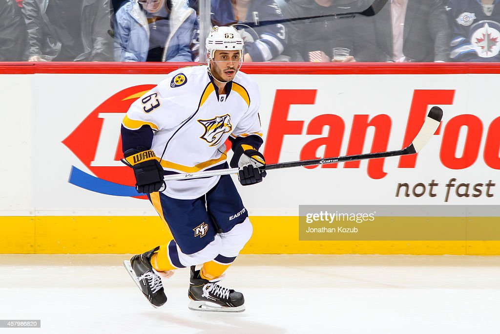 Mike Ribeiro of the Nashville Predators follows the play up the ice during second period action against the Winnipeg Jets on October 17 2014 at the...