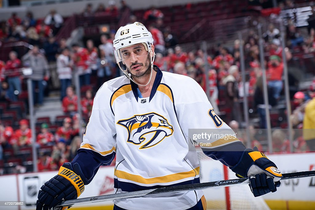 Mike Ribeiro of the Nashville Predators looks on during Game Three of the Western Conference Quarterfinals against the Chicago Blackhawks during the...