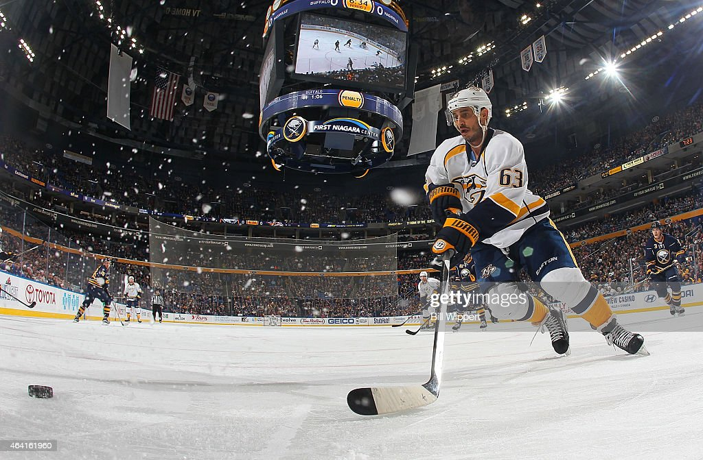 Mike Ribeiro of the Nashville Predators looks to control the puck against the Buffalo Sabres on February 22 2015 at the First Niagara Center in...