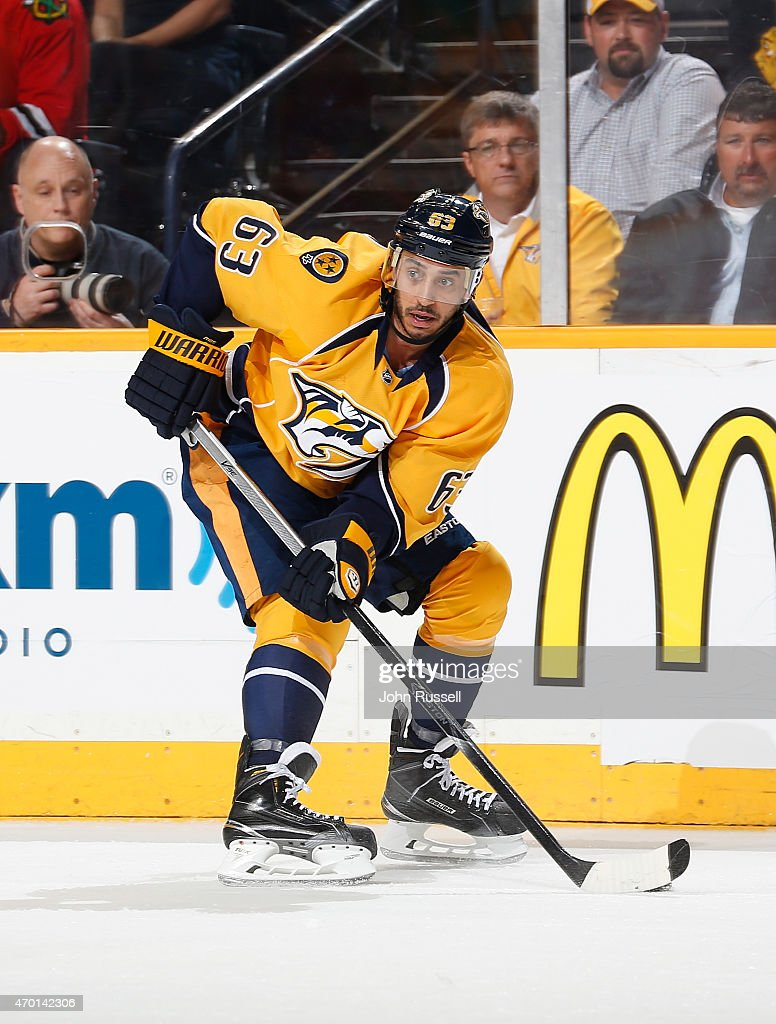 Mike Ribeiro of the Nashville Predators skates against the Chicago Blackhawks in Game One of the Western Conference Quarterfinals during the 2015 NHL...