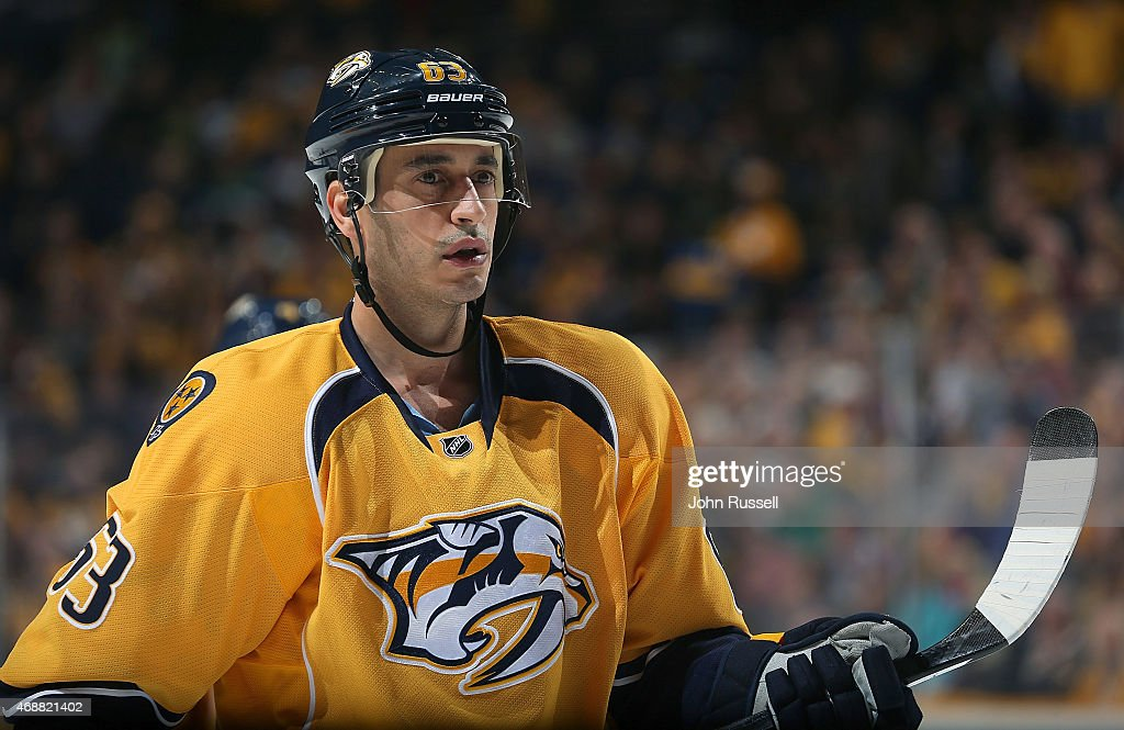 Mike Ribeiro of the Nashville Predators skates against the Dallas Stars during an NHL game at Bridgestone Arena on April 4 2015 in Nashville Tennessee