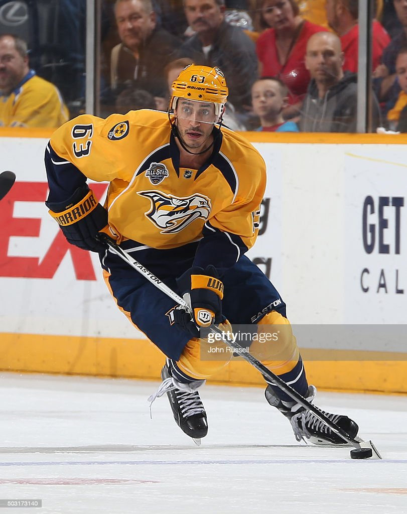 Mike Ribeiro of the Nashville Predators skates against the Detroit Red Wings during an NHL game at Bridgestone Arena on December 26 2015 in Nashville...