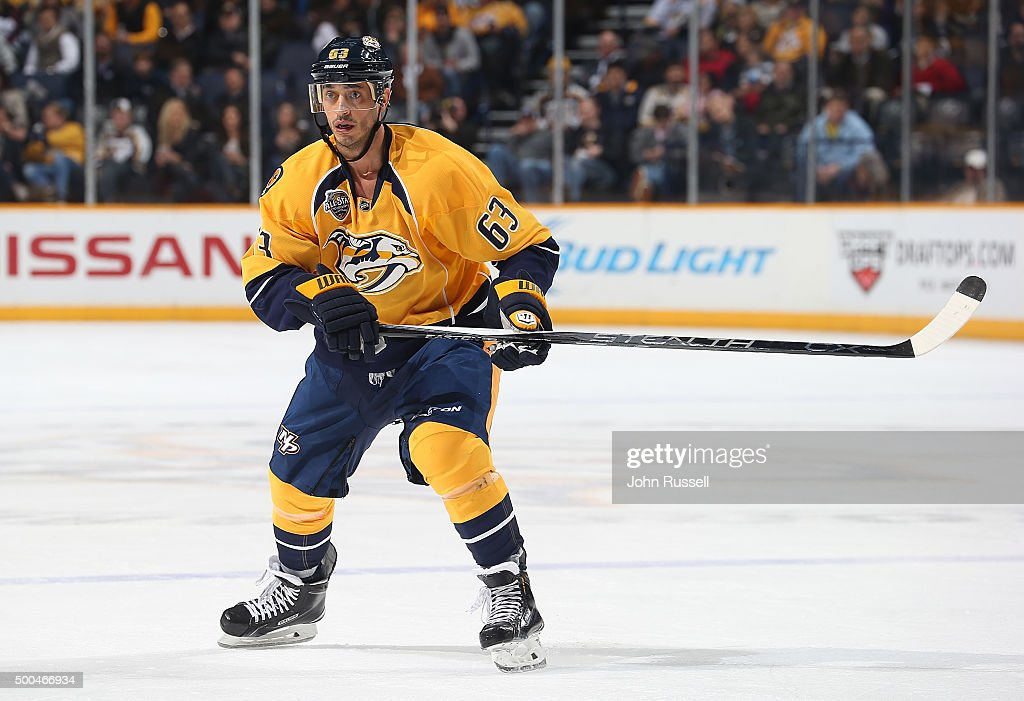 Mike Ribeiro of the Nashville Predators skates against the Florida Panthers during an NHL game at Bridgestone Arena on December 3 2015 in Nashville...