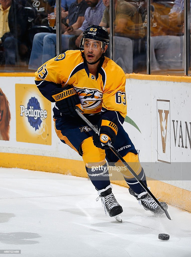 Mike Ribeiro of the Nashville Predators skates against the Minnesota Wild during an NHL game at Bridgestone Arena on April 9 2015 in Nashville...