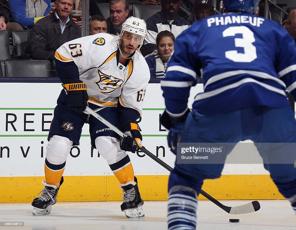 Mike Ribeiro of the Nashville Predators skates against the Toronto Maple Leafs at the Air Canada Centre on November 18 2014 in Toronto Canada The...