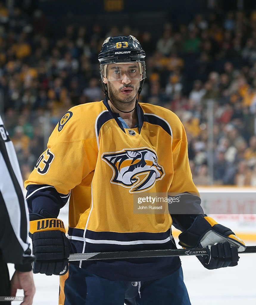 Mike Ribeiro of the Nashville Predators skates against the Winnipeg Jets during an NHL game at Bridgestone Arena on March 7 2015 in Nashville...