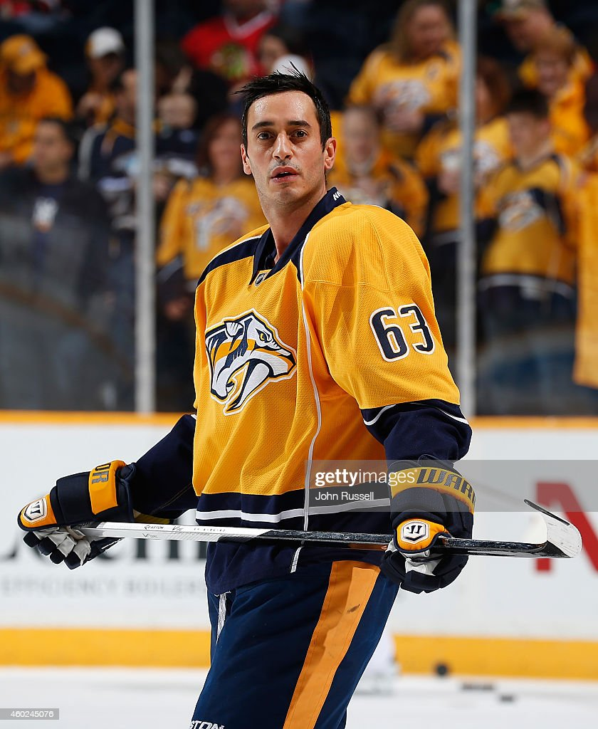 Mike Ribeiro of the Nashville Predators skates in warmups prior to the game against the Chicago Blackhawks at Bridgestone Arena on December 6 2014 in...