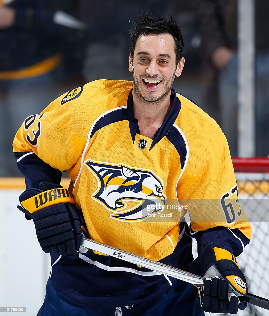 Mike Ribeiro of the Nashville Predators smiles in warmups against the Vancouver Canucks during an NHL game at Bridgestone Arena on January 13 2015 in...