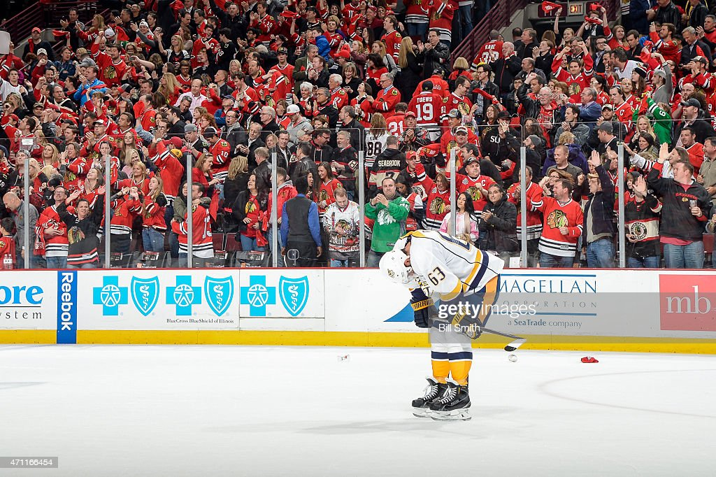 Mike Ribeiro #63 of the Nashville Predators stands on the ice after the Chicago Blackhawks defeated the Predators 4-3 to win the series in Game Six of the Western Conference Quarterfinals during the 2015 NHL Stanley Cup Playoffs at the United Center on April 25, 2015 in Chicago, Illinois.