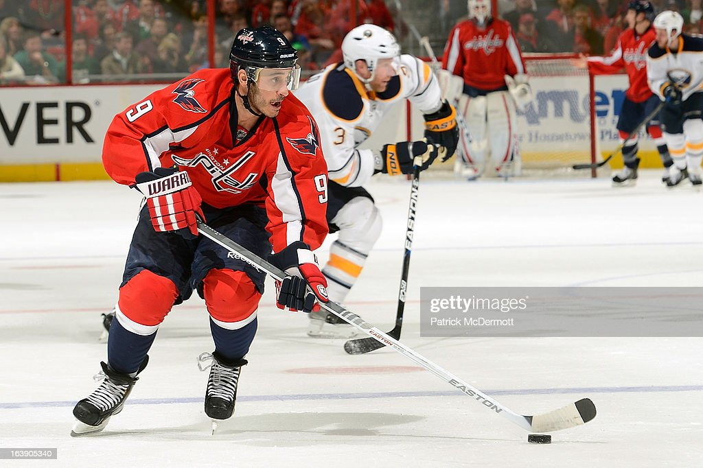 <a gi-track='captionPersonalityLinkClicked' href=/galleries/search?phrase=Mike+Ribeiro&family=editorial&specificpeople=203275 ng-click='$event.stopPropagation()'>Mike Ribeiro</a> #9 of the Washington Capitals brings the puck up ice during an NHL game against the Buffalo Sabres at Verizon Center on March 17, 2013 in Washington, DC.