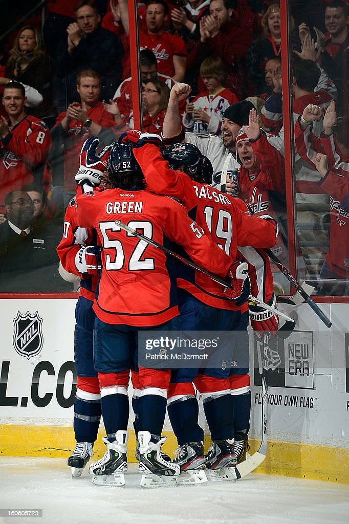 <a gi-track='captionPersonalityLinkClicked' href=/galleries/search?phrase=Mike+Ribeiro&family=editorial&specificpeople=203275 ng-click='$event.stopPropagation()'>Mike Ribeiro</a> #9 of the Washington Capitals celebrates after scoring a goal in the third period of an NHL game against the Pittsburgh Penguins at Verizon Center on February 3, 2013 in Washington, DC.