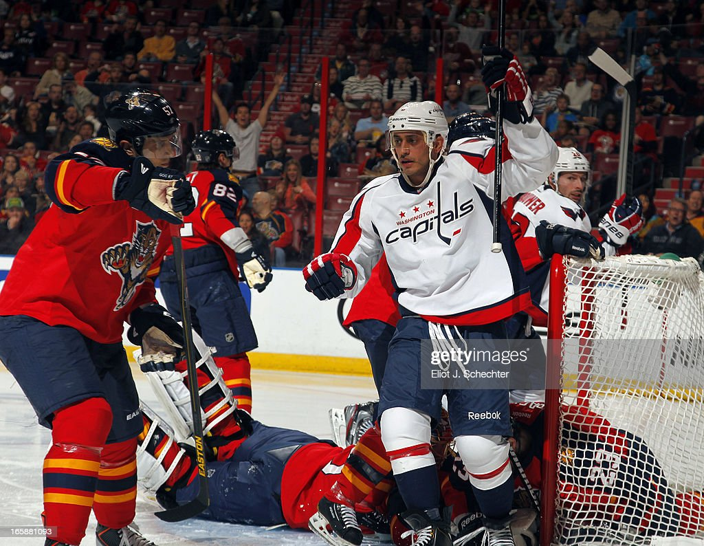<a gi-track='captionPersonalityLinkClicked' href=/galleries/search?phrase=Mike+Ribeiro&family=editorial&specificpeople=203275 ng-click='$event.stopPropagation()'>Mike Ribeiro</a> #9 of the Washington Capitals celebrates his goal against the Florida Panthers at the BB&T Center on April 6, 2013 in Sunrise, Florida.
