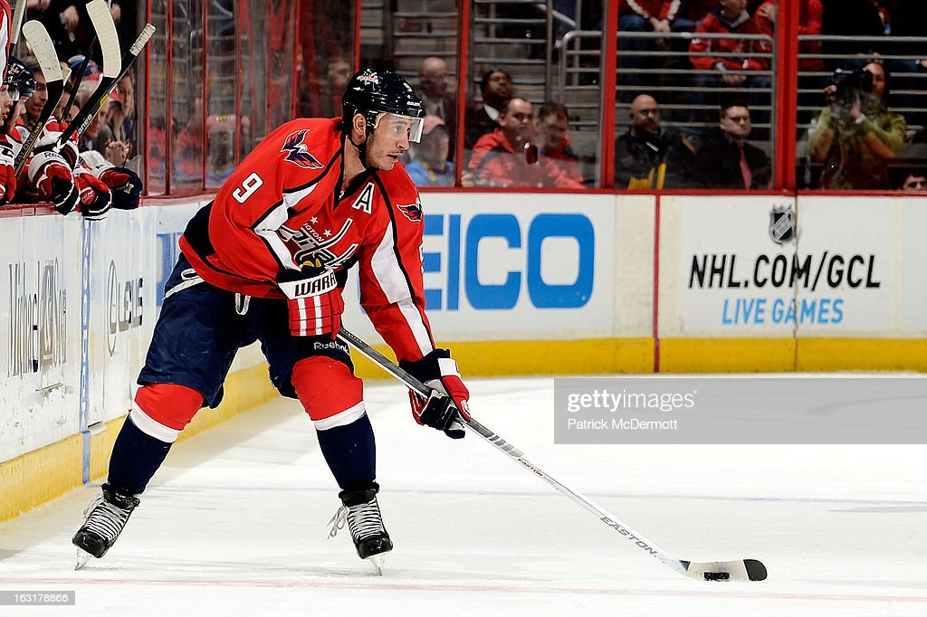 <a gi-track='captionPersonalityLinkClicked' href=/galleries/search?phrase=Mike+Ribeiro&family=editorial&specificpeople=203275 ng-click='$event.stopPropagation()'>Mike Ribeiro</a> #9 of the Washington Capitals plays the puck at mid ice during the third period of an NHL game against the Boston Bruins at Verizon Center on March 5, 2013 in Washington, DC.