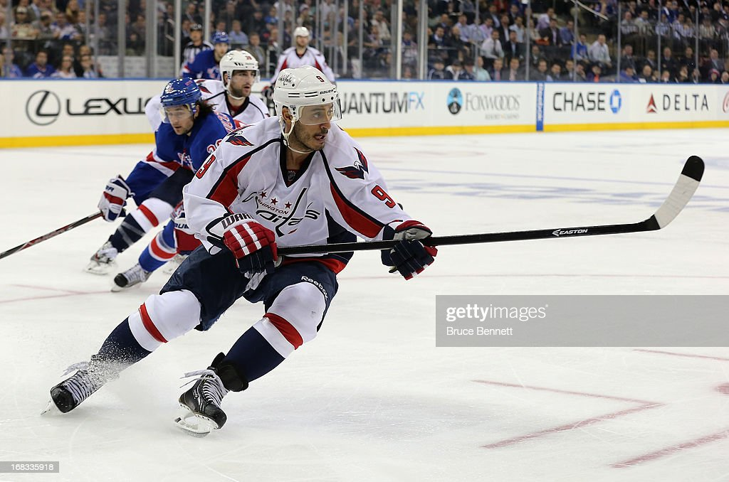 <a gi-track='captionPersonalityLinkClicked' href=/galleries/search?phrase=Mike+Ribeiro&family=editorial&specificpeople=203275 ng-click='$event.stopPropagation()'>Mike Ribeiro</a> #9 of the Washington Capitals skates against the New York Rangers in Game Four of the Eastern Conference Quarterfinals during the 2013 NHL Stanley Cup Playoffs at Madison Square Garden on May 8, 2013 in New York City. The Rangers defeated the Capitals 4-3.